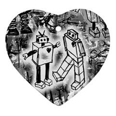 Robot Love Heart Ornament