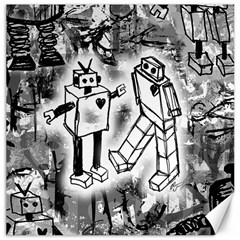 Robot Love Canvas 20  X 20  (unframed)