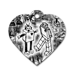 Robot Love Dog Tag Heart (two Sided)