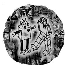 Robot Love Large 18  Premium Round Cushion