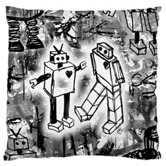 Robot Love Large Flano Cushion Case (Two Sides)