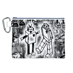 Robot Love Canvas Cosmetic Bag (Large)