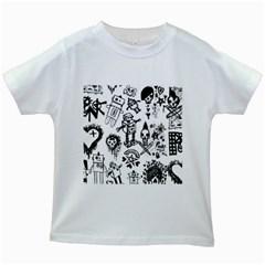 Scene Kid Sketches Kids T-shirt (White)