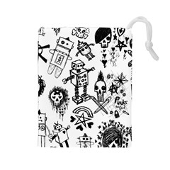 Scene Kid Sketches Drawstring Pouch (Large)