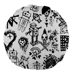 Scene Kid Sketches Large 18  Premium Flano Round Cushion