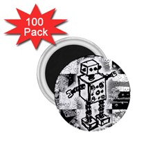 Sketched Robot 1 75  Button Magnet (100 Pack)