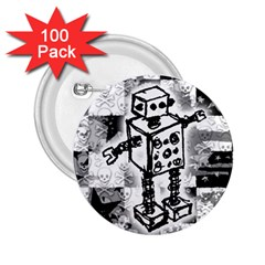 Sketched Robot 2 25  Button (100 Pack)