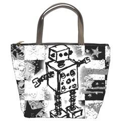 Sketched Robot Bucket Handbag