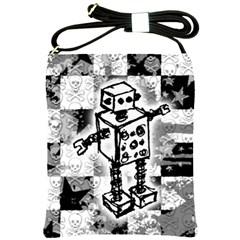 Sketched Robot Shoulder Sling Bag