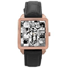 Sketched Robot Rose Gold Leather Watch