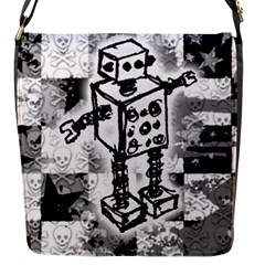 Sketched Robot Flap Closure Messenger Bag (small)