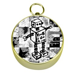 Sketched Robot Gold Compass