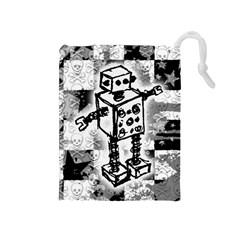 Sketched Robot Drawstring Pouch (Medium)