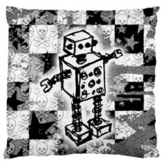 Sketched Robot Large Flano Cushion Case (one Side)