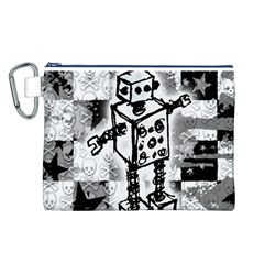 Sketched Robot Canvas Cosmetic Bag (Large)