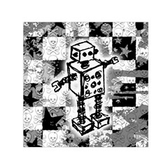 Sketched Robot Small Satin Scarf (Square)