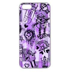 Purple Scene Kid Sketches Apple Seamless Iphone 5 Case (clear)