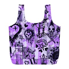 Purple Scene Kid Sketches Reusable Bag (l)