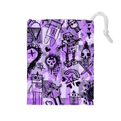 Purple Scene Kid Sketches Drawstring Pouch (Large)