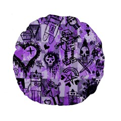 Purple Scene Kid Sketches Standard 15  Premium Flano Round Cushion