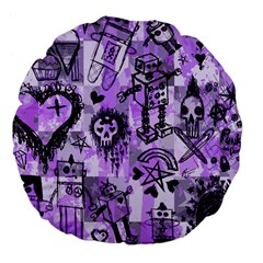 Purple Scene Kid Sketches Large 18  Premium Flano Round Cushion