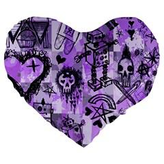 Purple Scene Kid Sketches Large 19  Premium Flano Heart Shape Cushion