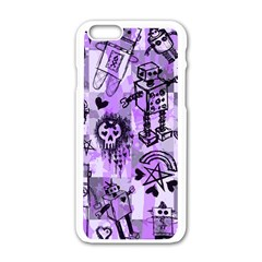 Purple Scene Kid Sketches Apple Iphone 6 White Enamel Case