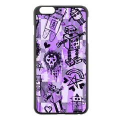 Purple Scene Kid Sketches Apple Iphone 6 Plus Black Enamel Case