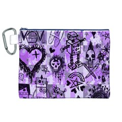 Purple Scene Kid Sketches Canvas Cosmetic Bag (XL)