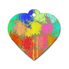 Colorful Paint Spots Dog Tag Heart (one Side)