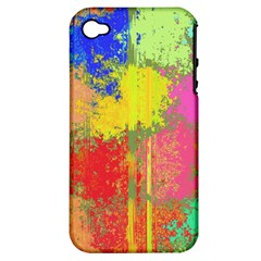 Colorful Paint Spots Apple Iphone 4/4s Hardshell Case (pc+silicone)