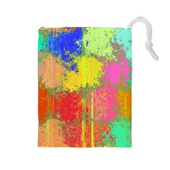 Colorful paint spots Drawstring Pouch