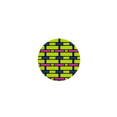 Pink,green,blue Rectangles Pattern 1  Mini Button