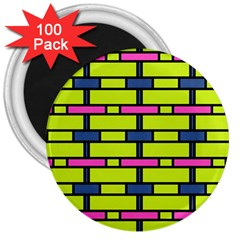Pink,green,blue Rectangles Pattern 3  Magnet (100 Pack)
