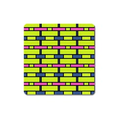Pink,green,blue Rectangles Pattern Magnet (square)