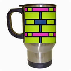 Pink,green,blue Rectangles Pattern Travel Mug (white)