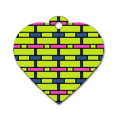 Pink,green,blue Rectangles Pattern Dog Tag Heart (one Side)