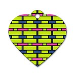 Pink,green,blue rectangles pattern Dog Tag Heart (One Side) Front