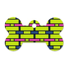 Pink,green,blue Rectangles Pattern Dog Tag Bone (two Sides)