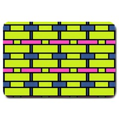 Pink,green,blue Rectangles Pattern Large Doormat