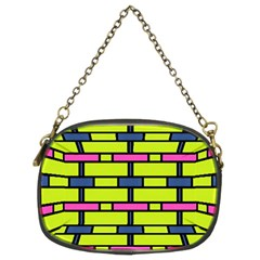 Pink,green,blue Rectangles Pattern Chain Purse (two Sides)