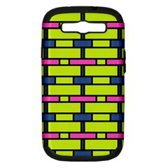 Pink,green,blue Rectangles Pattern Samsung Galaxy S Iii Hardshell Case (pc+silicone)