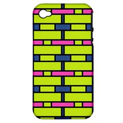 Pink,green,blue Rectangles Pattern Apple Iphone 4/4s Hardshell Case (pc+silicone)