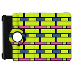 Pink,green,blue Rectangles Pattern Kindle Fire Hd Flip 360 Case