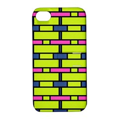 Pink,green,blue Rectangles Pattern Apple Iphone 4/4s Hardshell Case With Stand