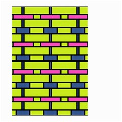 Pink Green Blue Rectangles Pattern Small Garden Flag