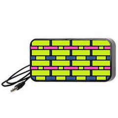 Pink green blue rectangles pattern Portable Speaker