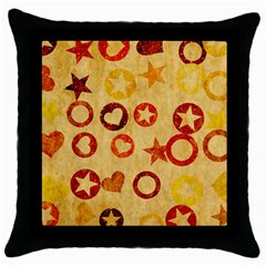 Shapes On Vintage Paper Throw Pillow Case (black)