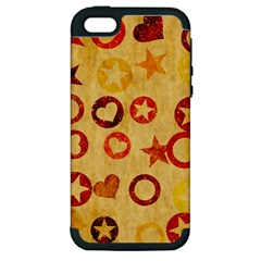 Shapes On Vintage Paper Apple Iphone 5 Hardshell Case (pc+silicone)