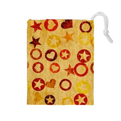 Shapes on vintage paper Drawstring Pouch